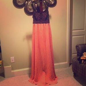 A Black peach maxi dress